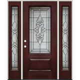 3/4 Lite Pre-finished Mahogany Fiberglass Prehung Door Unit with Sidelites #73