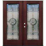 Texas Star Full Lite Pre-finished Mahogany Fiberglass Prehung Double Door Unit #90A
