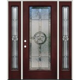 Texas Star Full Lite Pre-finished Mahogany Fiberglass Prehung Door Unit with Sidelites #90A