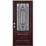 Pre-finished Mahogany Fiberglass Prehung Door Unit with Iron Grille #34