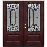 Pre-finished Mahogany Fiberglass Prehung Double Door Unit with Iron Grille #34