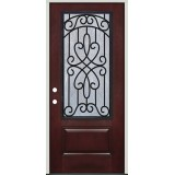 Pre-finished Mahogany Fiberglass Prehung Door Unit with External Iron Grille #62