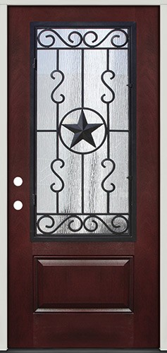 Pre-finished Mahogany Fiberglass Prehung Door Unit with Star External Iron Grille #75