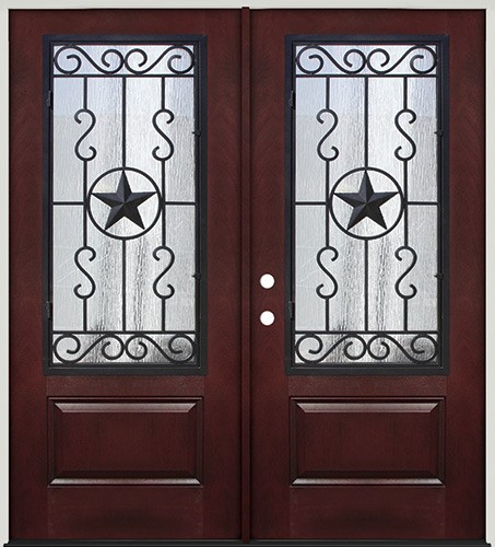 Pre-finished Mahogany Fiberglass Prehung Double Door Unit with Star External Iron Grille #75