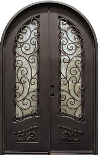 "62"" x 97"" Blossom Prehung Iron Double Door Unit"