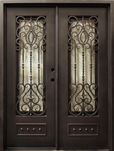 """62"""" x 81"""" Victorian Prehung Iron Double Door Unit"""