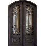 "62"" x 97"" Ocean Wave Prehung Iron Double Door Unit"