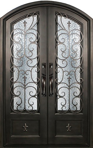 "74"" x 97"" Fleur-de-lis Prehung Iron Double Door Unit"
