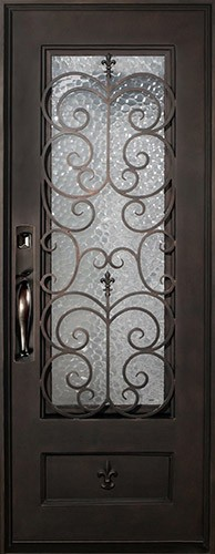 "46"" x 97"" Fleur-de-lis Square Top Prehung Iron Door Unit"