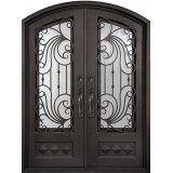 "62"" x 82"" Ocean Wave Prehung Iron Double Door Unit"