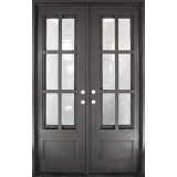 "62"" x 97"" Tiffany Square Top Prehung Iron Double Door Unit"