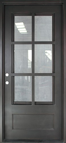 "40"" x 97"" Tiffany Square Top Prehung Iron Door Unit"