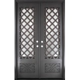 "62"" x 97"" Trellis Square Top Prehung Iron Double Door Unit"