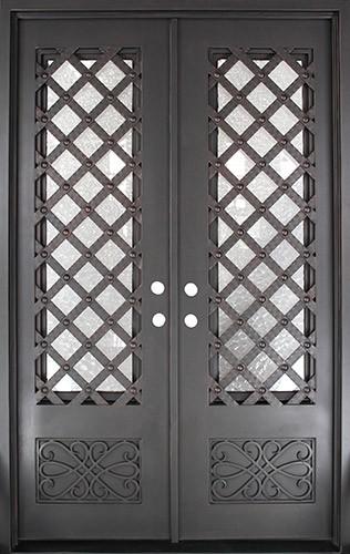 "62"" x 97"" Trellis Square Top Prehung Iron Double Door Unit"