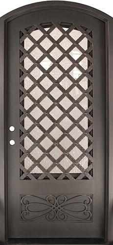 "46"" x 97"" Trellis Prehung Iron Door Unit"