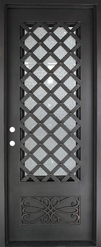 "40"" x 97"" Trellis Square Top Prehung Iron Door Unit"