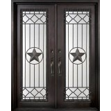 "74"" x 97"" Star Prehung Iron Double Door Unit"