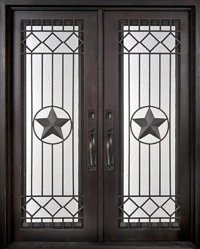 """62"""" x 97"""" Star Prehung Iron Double Door Unit"""