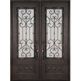 "62"" x 81"" Victorian Prehung Iron Double Door Unit"