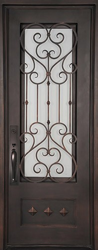 "46"" x 97"" Victorian Prehung Iron Door Unit"