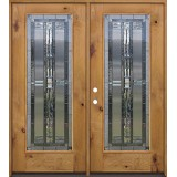 Full Lite Knotty Alder Prehung Double Wood Door Unit #297