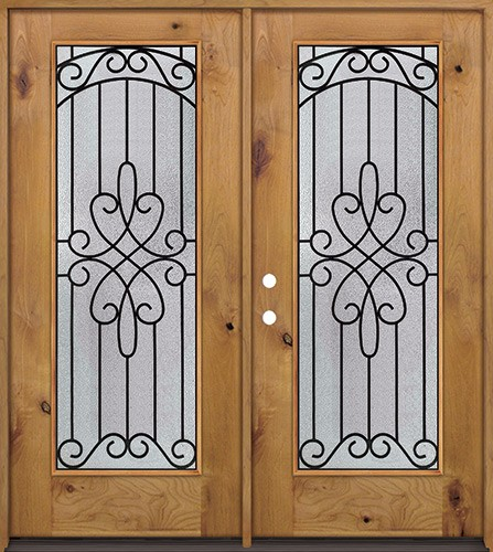 Full Lite Knotty Alder Prehung Double Wood Door Unit #299