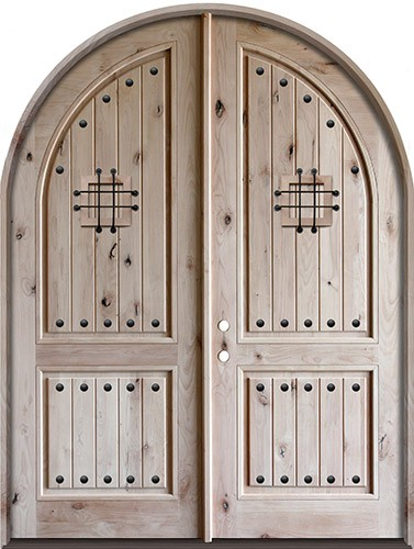 8u00270  Tall Rustic Knotty Alder Radius Top Double Door & Finer Doors | 8u00270