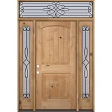 Rustic Knotty Alder Wood Door Unit with #299 Transom #UK25