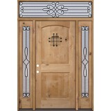Rustic Knotty Alder Wood Door Unit with #299 Transom #UK26