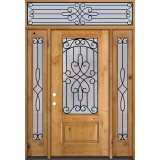 3/4 Lite Knotty Alder Wood Door Unit with Transom #279