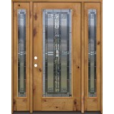 Full Lite Knotty Alder Prehung Wood Door Unit with Sidelites #297