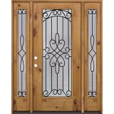Full Lite Knotty Alder Prehung Wood Door Unit with Sidelites #299