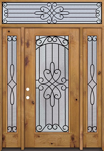 Full Lite Knotty Alder Wood Door Unit with Transom #299