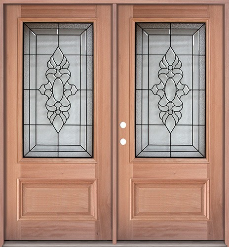 3/4 Lite Mahogany Prehung Double Wood Door Unit #UM73