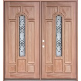 Center Arch Mahogany Prehung Double Wood Door Unit #UM58