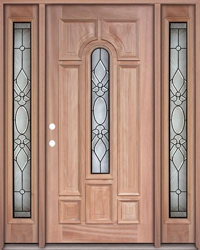 Center Arch Mahogany Prehung Wood Door Unit with Sidelites #UM58