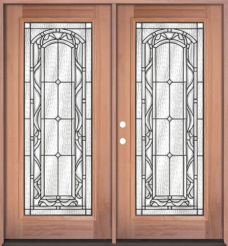Full Lite Mahogany Prehung Double Wood Door Unit #292