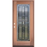 Full Lite Mahogany Prehung Wood Door Unit #297