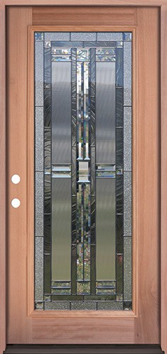Full Lite Mahogany Prehung Wood Door Unit #297