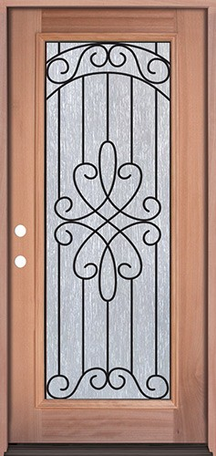 Full Lite Mahogany Prehung Wood Door Unit #299