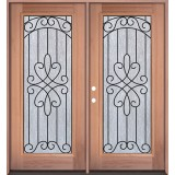 Full Lite Mahogany Prehung Double Wood Door Unit #299