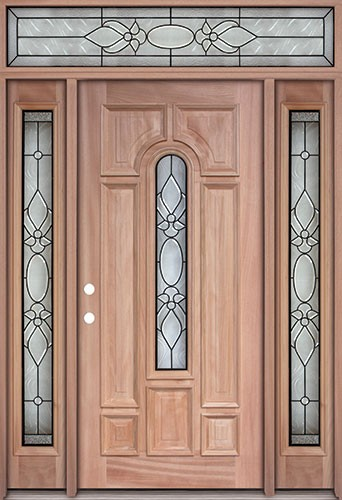Center Arch Mahogany Prehung Wood Door Unit with Transom #UM58