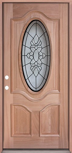 3/4 Oval Mahogany Prehung Wood Door Unit #UM64