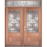 Texas Star 3/4 Lite Mahogany Prehung Wood Double Door Unit with Transom #UM70