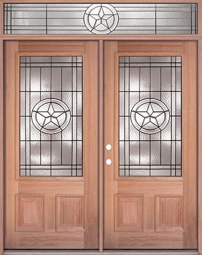 Finer Doors Texas Star 3 4 Lite Mahogany Prehung Wood Double Door Unit With Transom Um70