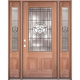 Texas Star 3/4 Lite Mahogany Prehung Wood Door Unit with Sidelites #UM70