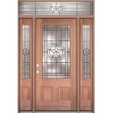 Texas Star 3/4 Lite Mahogany Prehung Wood Door Unit with Transom #UM70