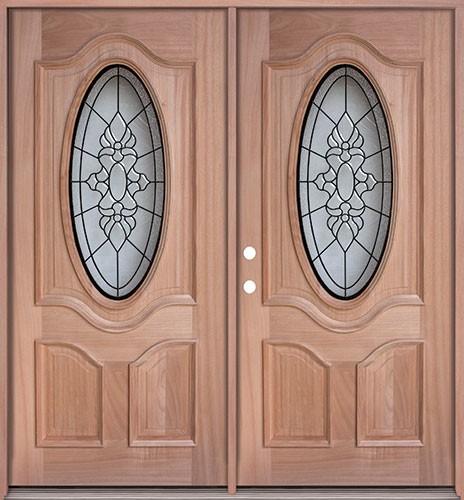 3/4 Oval Mahogany Prehung Double Wood Door Unit #UM64