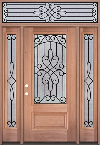3/4 Lite Mahogany Wood Door Unit with Transom #279