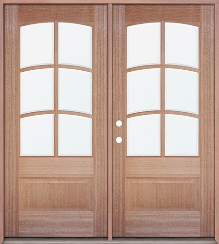 6-Lite Arch Mahogany Prehung Double Wood Door Unit #A3068-6LTR